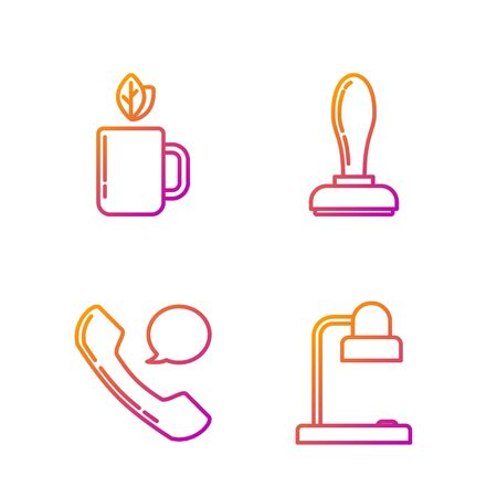 Set line Table lamp, Telephone handset and speech bubble chat, Cup of tea and leaf and Stamp. Gradient color icons. Vector