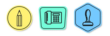 Set line Pencil, Telephone and Stamp. Colored shapes. Vector