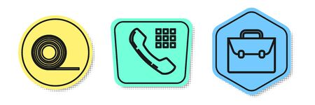 Set line Scotch, Telephone handset and Briefcase. Colored shapes. Vector