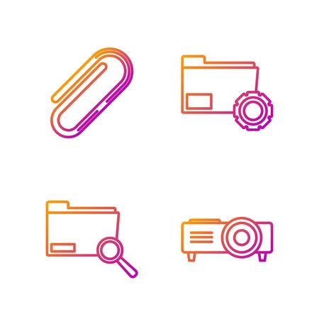 Set line Presentation, movie, film, media projector, Search concept with folder, Paper clip and Folder settings with gears. Gradient color icons. Vector Illustration
