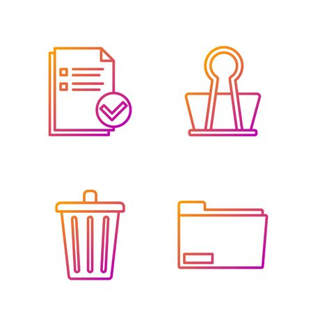 Set line Document folder, Trash can, Document and check mark and Binder clip. Gradient color icons. Vector