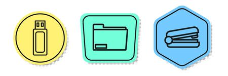 Set line USB flash drive, Document folder and Office stapler. Colored shapes. Vector