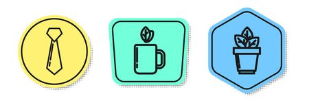 Set line Tie, Cup of tea and leaf and Flowers in pot. Colored shapes. Vector Illustration