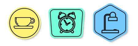 Set line Coffee cup flat, Alarm clock and Table lamp. Colored shapes. Vector Illustration