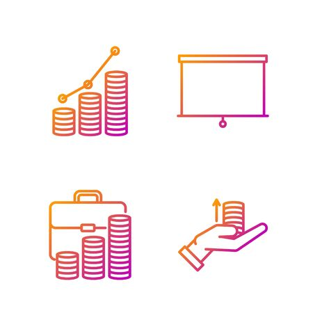 Set line Money on hand, Briefcase and coin, Pie chart infographic and coin and Chalkboard. Gradient color icons. Vector
