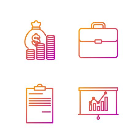 Set line Board with graph chart, Document, Money bag and coin and Briefcase. Gradient color icons. Vector