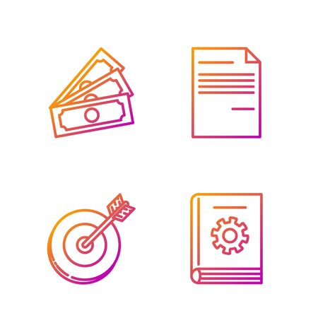 Set line User manual, Target, Stacks paper money cash and Document. Gradient color icons. Vector