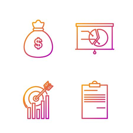 Set line Document, Target with graph chart, Money bag and Board with graph chart. Gradient color icons. Vector