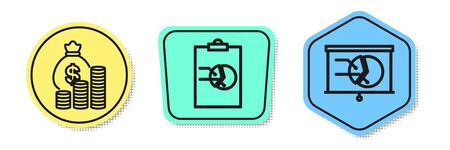 Set line Money bag and coin, Clipboard with graph chart and Board with graph chart. Colored shapes. Vector