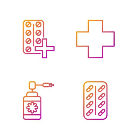 Set line Pills in blister pack, Medical bottle with nozzle spray, Pills in blister pack and Cross hospital medical. Gradient color icons. Vector