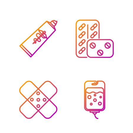 Set line IV bag, Crossed bandage plaster, Ointment cream tube medicine and Pills in blister pack. Gradient color icons. Vector