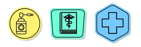 Set line Medical bottle with nozzle spray, Medical book and Cross hospital medical. Colored shapes. Vector