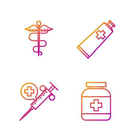 Set line Medicine bottle, Medical syringe with needle, Caduceus snake medical symbol and Ointment cream tube medicine. Gradient color icons. Vector Archivio Fotografico - 135267988