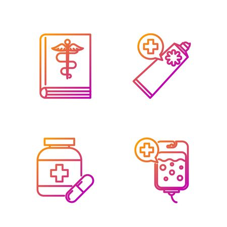 Set line IV bag, Medicine bottle and pills, Medical book and Ointment cream tube medicine. Gradient color icons. Vector Archivio Fotografico - 135267982