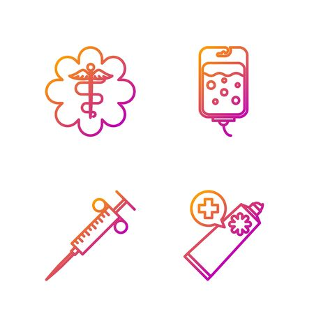 Set line Ointment cream tube medicine, Syringe, Emergency star medical symbol Caduceus snake with stick and IV bag. Gradient color icons. Vector Archivio Fotografico - 135268199