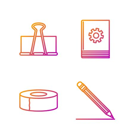 Set line Pencil with eraser and line, Scotch, Binder clip and User manual. Gradient color icons. Vector