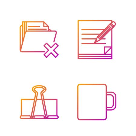 Set line Coffee cup, Binder clip, Delete folder and Blank notebook and pencil with eraser. Gradient color icons. Vector Illusztráció