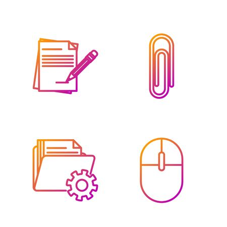 Set line Computer mouse, Folder settings with gears, Blank notebook and pencil with eraser and Paper clip. Gradient color icons. Vector