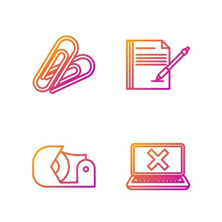 Set line Laptop and cross mark on screen, Scotch, Paper clip and Blank notebook and pen. Gradient color icons. Vector