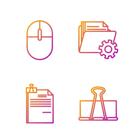 Set line Binder clip, File document and binder clip, Computer mouse and Folder settings with gears. Gradient color icons. Vector