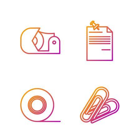 Set line Paper clip, Scotch, Scotch and Note paper with pinned pushbutton. Gradient color icons. Vector