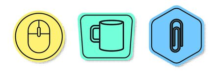 Set line Computer mouse, Coffee cup flat and Paper clip. Colored shapes. Vector