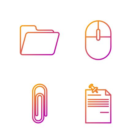 Set line Note paper with pinned pushbutton, Paper clip, Document folder and Computer mouse. Gradient color icons. Vector Illusztráció