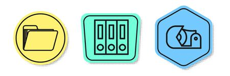 Set line Document folder, Office folders with papers and documents and Scotch. Colored shapes. Vector