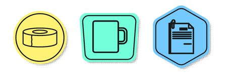 Set line Scotch, Coffee cup and File document and paper clip. Colored shapes. Vector