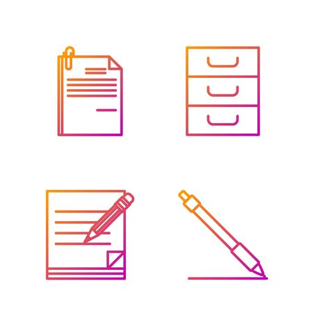 Set line Pen line, Blank notebook and pencil with eraser, File document and paper clip and Drawer with documents. Gradient color icons. Vector Illusztráció