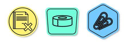 Set line Delete file document, Scotch and Paper clip. Colored shapes. Vector Ilustração