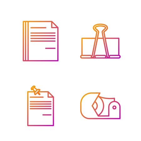 Set line Scotch, Note paper with pinned pushbutton, File document and Binder clip. Gradient color icons. Vector Illusztráció