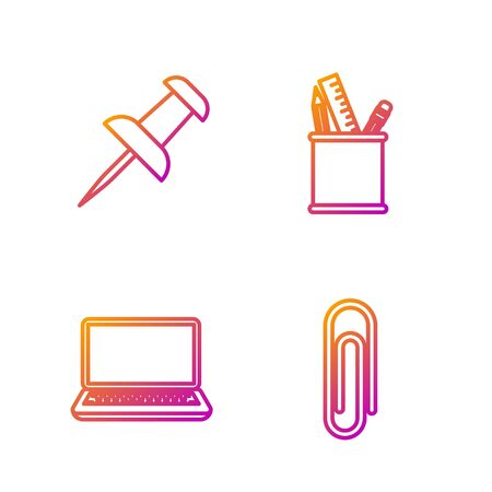 Set line Paper clip, Laptop, Push pin and Pencil case stationery. Gradient color icons. Vector
