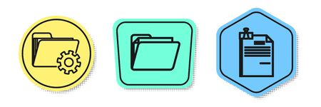 Set line Folder settings with gears, Document folder and File document and binder clip. Colored shapes. Vector