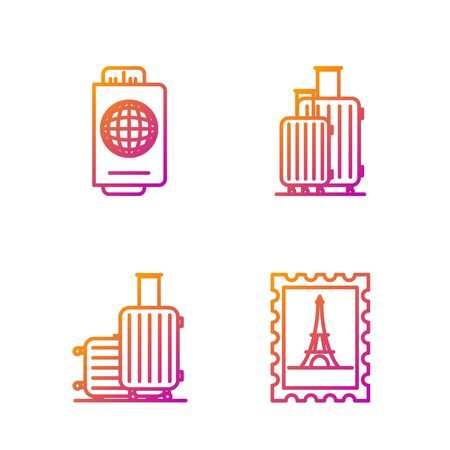 Set line Postal stamp and Eiffel tower, Suitcase for travel, Passport with ticket and Suitcase for travel. Gradient color icons. Vector