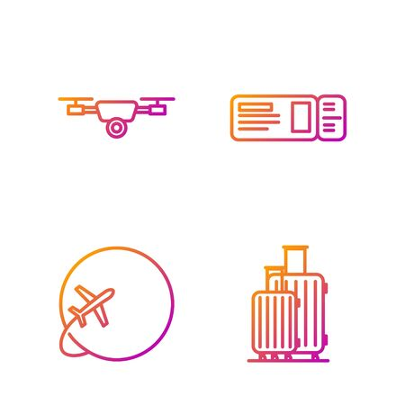 Set line Suitcase for travel, Globe with flying plane, Drone flying with action video camera and Travel ticket. Gradient color icons. Vector