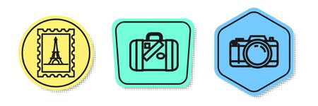 Set line Postal stamp and Eiffel tower, Suitcase for travel and stickers and Photo camera. Colored shapes. Vector