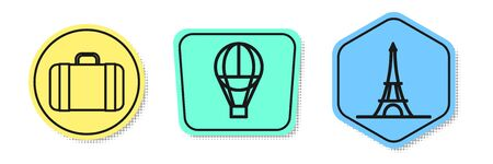 Set line Suitcase for travel, Hot air balloon and Eiffel tower. Colored shapes. Vector