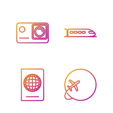 Set line Globe with flying plane, Passport with biometric data, Action extreme camera and Train. Gradient color icons. Vector Stock Illustratie