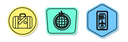 Set line Suitcase for travel and stickers, Globe with flying plane and Smartphone with electronic boarding pass airline ticket. Colored shapes. Vector