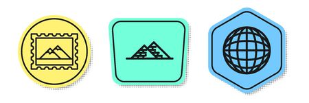 Set line Postal stamp and Mountains, Egypt pyramids and Earth globe. Colored shapes. Vector Stock Illustratie