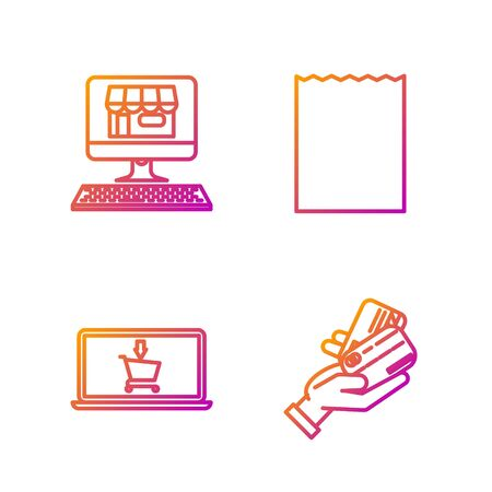 Set line Human hand holding with credit card, Shopping cart on screen laptop, Shopping building on screen computer and Paper shopping bag. Gradient color icons. Vector