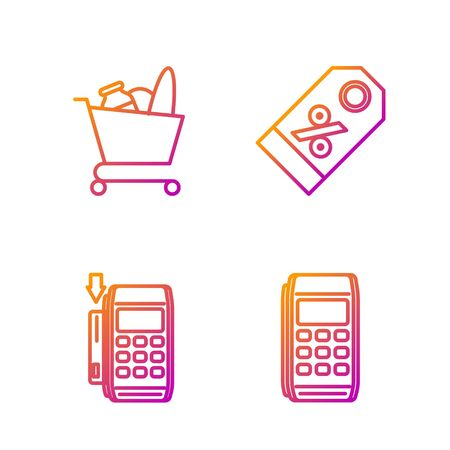 Set line Pos terminal, Pos terminal with inserted credit card, Shopping cart and food and Discount percent tag. Gradient color icons. Vector