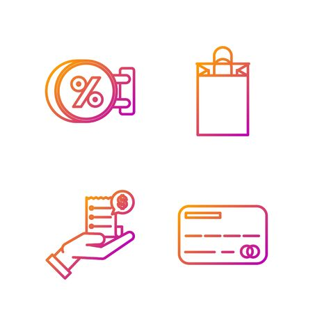 Set line Credit card, Human hand holding with blank receipt or bill for payment, Signboard hanging with an inscription discount percent and Paper shopping bag. Gradient color icons. Vector Stock Illustratie