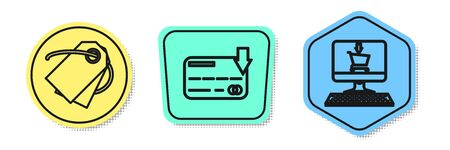 Set line Blank label template price tag, Credit card and Shopping cart on screen computer. Colored shapes. Vector