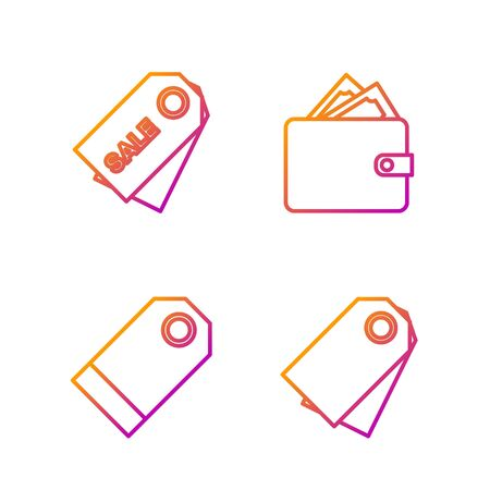 Set line Blank label template price tag, Blank label template price tag, Price tag with an inscription Sale and Wallet with stacks paper money cash. Gradient color icons. Vector