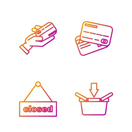 Set line Shopping basket, Hanging sign with text Closed, Human hand holding with credit card and Credit card. Gradient color icons. Vector