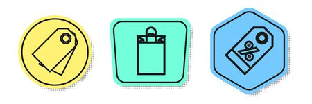 Set line Blank label template price tag, Paper shopping bag and Discount percent tag. Colored shapes. Vector