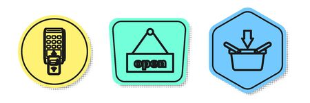 Set line POS terminal with printed reciept and confirms the payment by smartphone, Hanging sign with text Open door and Shopping basket. Colored shapes. Vector Stock Illustratie