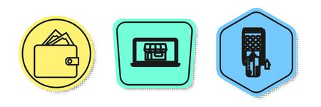 Set line Wallet with stacks paper money cash, Shopping building on screen laptop and Pos terminal with inserted credit card. Colored shapes. Vector